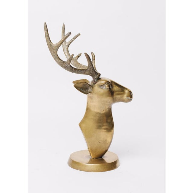 Brass Stags Head Sculpture For Sale - Image 5 of 5