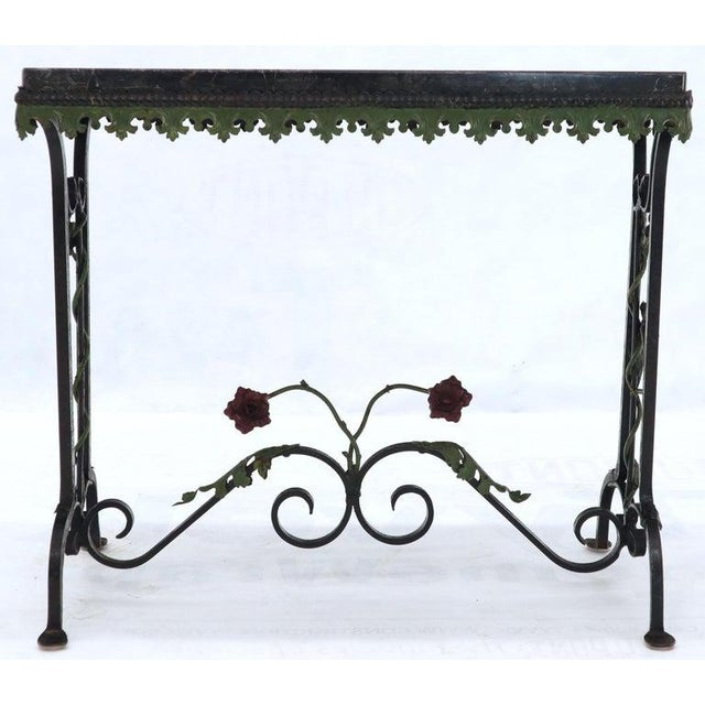 Black Marble Top Ornate Wrought Iron Side Console Table For Sale - Image 9 of 13