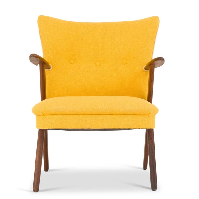 Mid-Century Modern Cocktail Chair Re-Upholstered in Yellow Fabric in the Style of Kurt Olsen, 1950s For Sale - Image 3 of 7