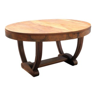 French Art Deco Solid Walnut Oval Dining Table ''U'' Legs Base Circa 1940s For Sale