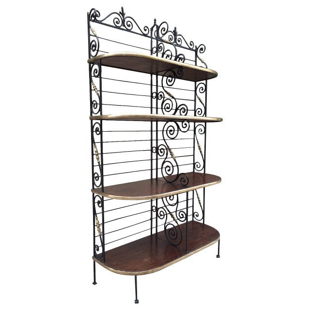 Large Antique French Iron and Brass Bakers Rack For Sale - Image 9 of 9
