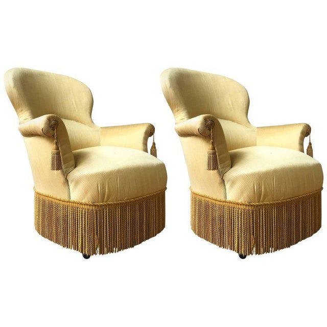 Pair of Large Napoleon III Armchairs in Yellow Fabric - Image 8 of 8