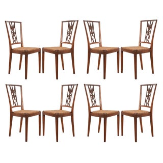French 19th Century Louis XVI Style Walnut and Rush-Seat Dining Chairs - Set of 8 For Sale