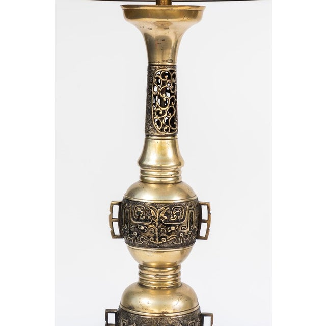 Traditional 19th Century Chinese Bronze Altar Stick Lamps - a Pair For Sale - Image 3 of 7