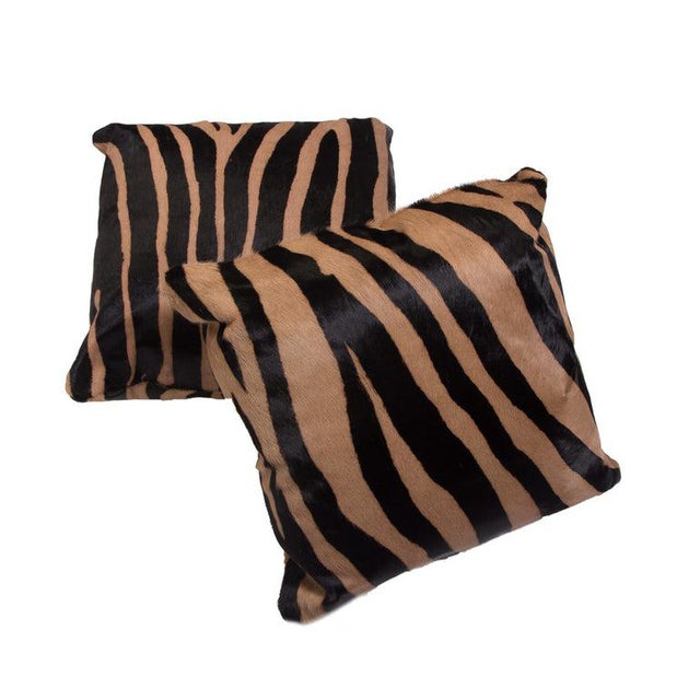 KLASP Home Zebra Stencil Printed Cowhide Hair Pillows For Sale - Image 4 of 5