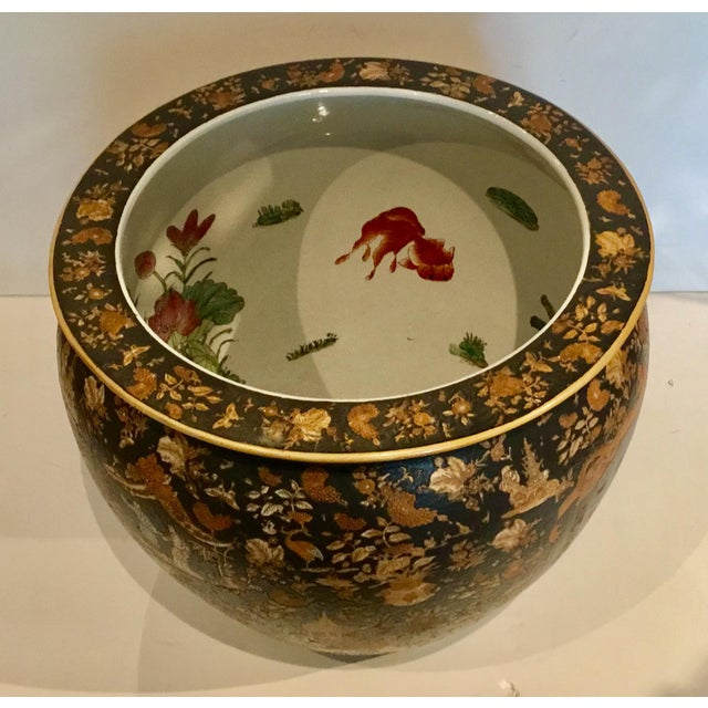 Stylish Large Vintage Asian Porcelain Fish Bowl with Black and Copper Glaze, koi fish detail, Circa, 1990's