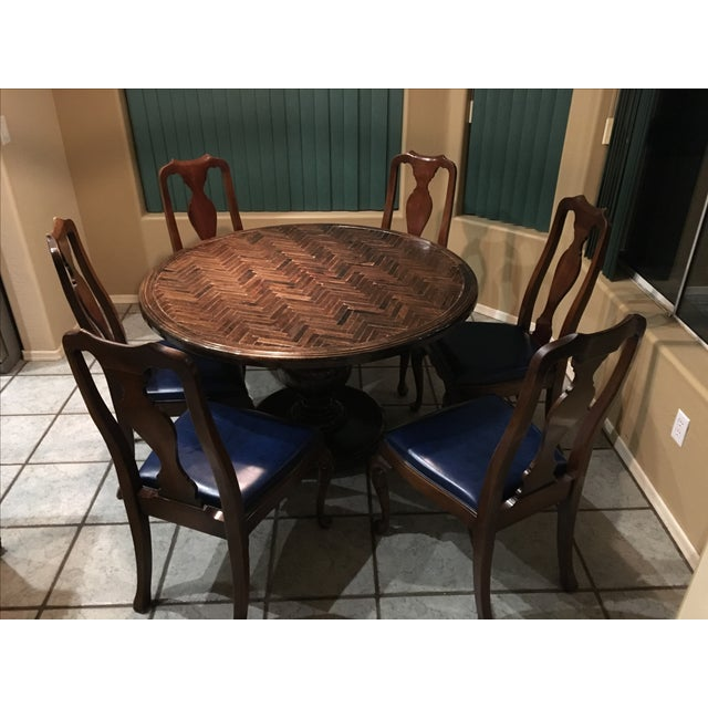 Dining Set with Herringbone Pattern - Image 2 of 5