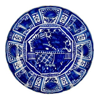 18th C. Dutch Delft Cobalt Blue Faïence Charger For Sale