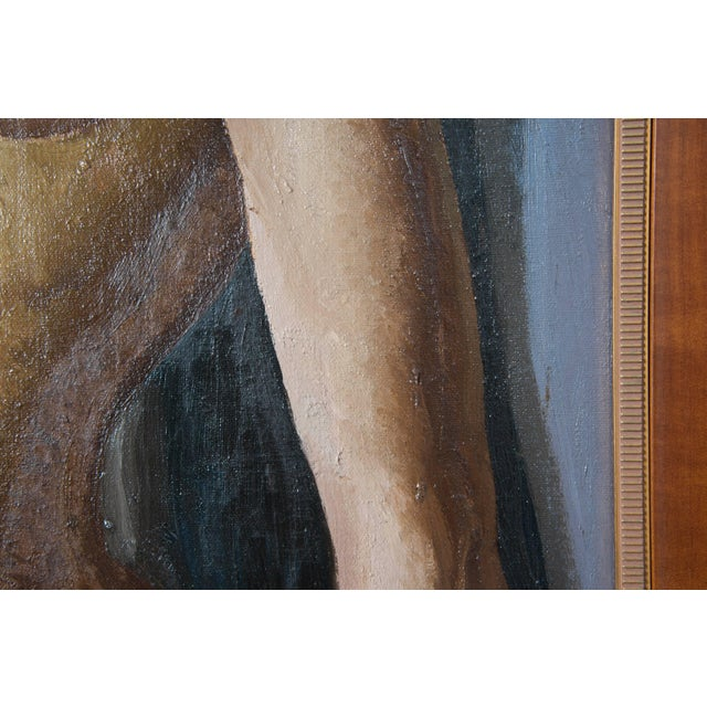 This oil on canvas depicting a nude female leaning against a gray wall was painted in the 1930s by the listed, American...