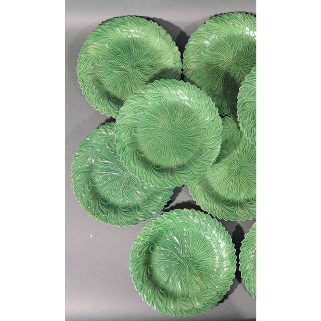 Yorkshire Pottery Green-Ground Plates - Set of 14 For Sale - Image 4 of 6