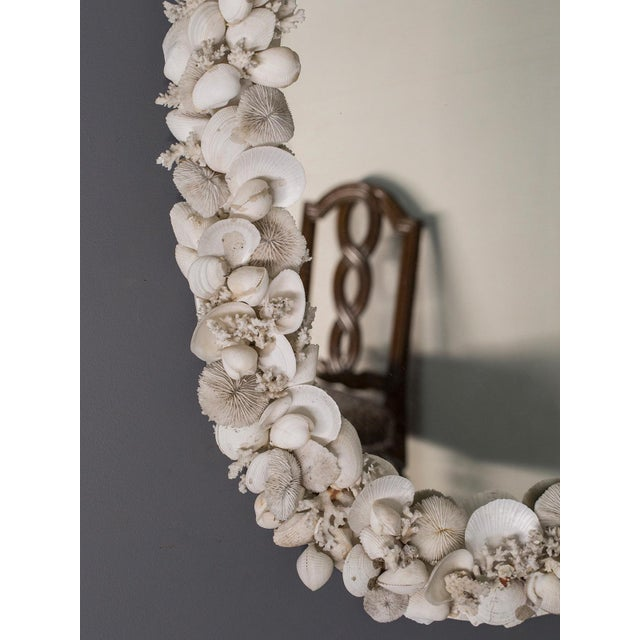 Vintage French Shell Encrusted Oval Mirror circa 1950 For Sale - Image 9 of 9