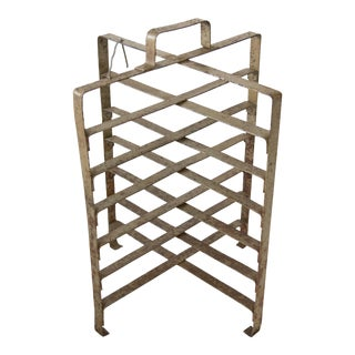 Antique French Bakery Cast Iron Pie Stand Plate Rack For Sale