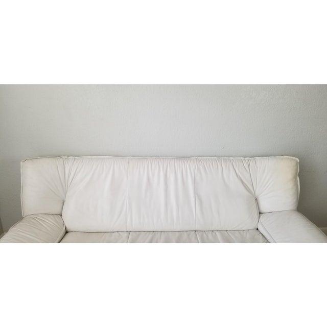 White Nicoletti Salotti Postmodern Italian Leather Sofa , Circa 1980's . For Sale - Image 8 of 13