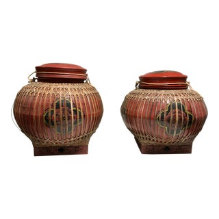 Early 20th Century Vintage Asian Paper Mâché Coated Rattan Storage Containers- A Pair For Sale