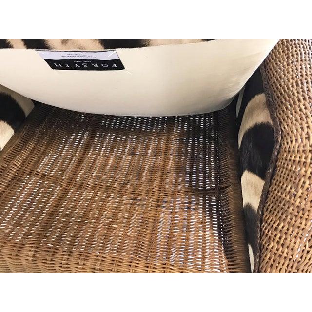 Tan Vintage Ralph Lauren Wicker Wingback Chairs Restored in Zebra Hide - Pair For Sale - Image 8 of 12