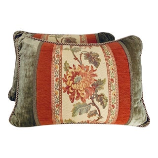 Traditional Coral and Moss Green Velvet Pillows With Filling - a Pair For Sale