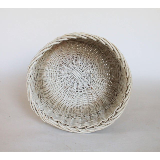 White Wicker Plant Stand - Image 4 of 6