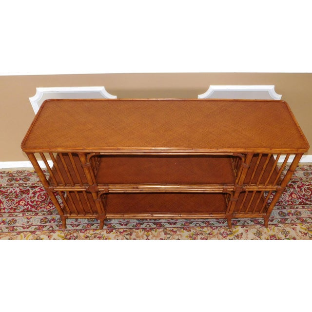 Ethan Allen Rattan Media Console Sofa Table For Sale - Image 7 of 9