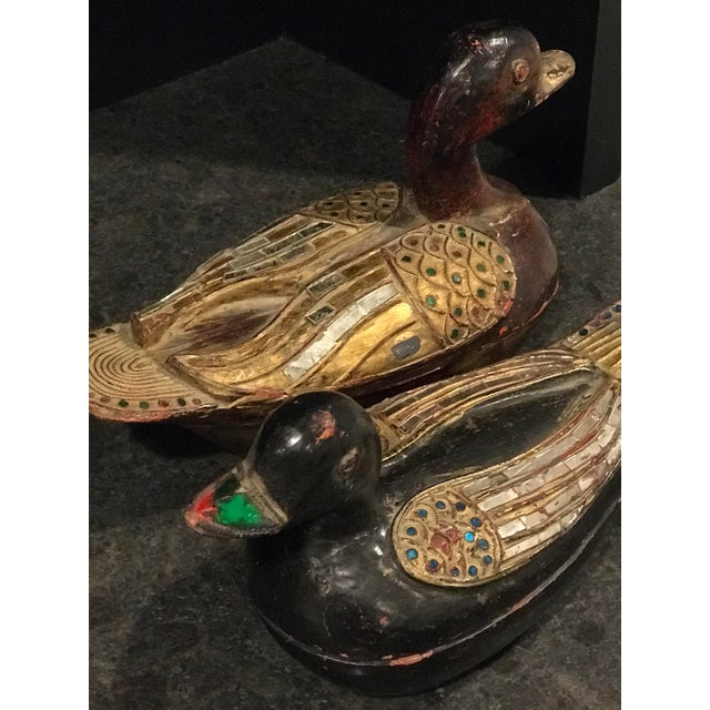 Asian Antique Wooden Duck Boxes - a Pair For Sale - Image 9 of 10