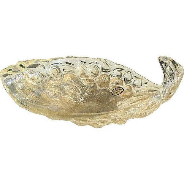 Lavorazione Arte Murano Gold Fleck Leaf Glass Bowl - Image 1 of 6