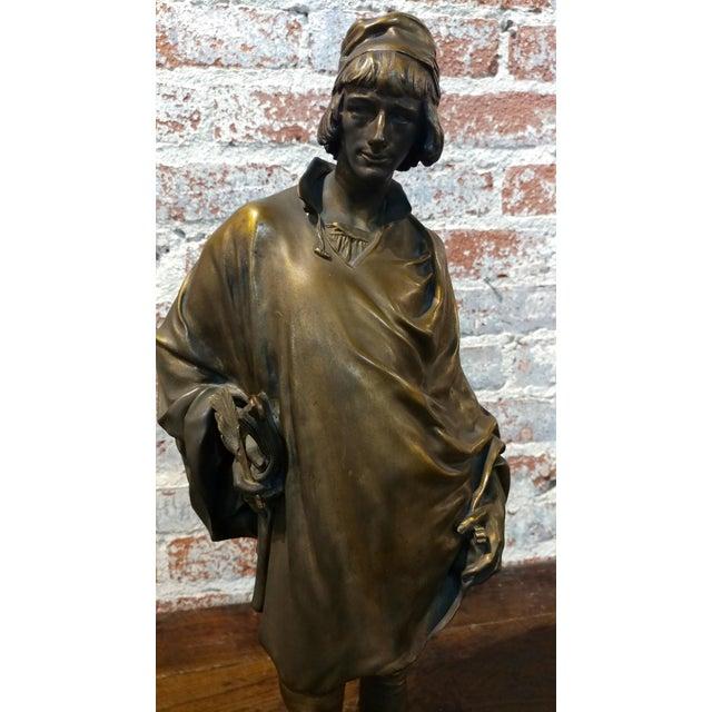 19th century Fabulous Bronze Sculpture of a Renaissance Artist -Signed Solid bronze sculpture For Sale - Image 5 of 10