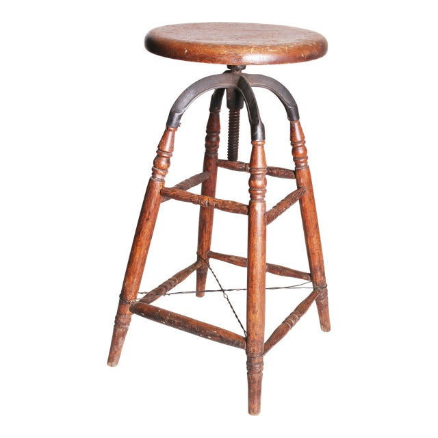 Vintage Industrial Wood & Cast Iron Adjustable Counter Stool - Image 1 of 11