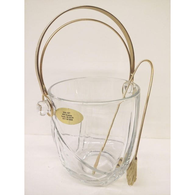 Vintage Italian Murano Glass Gold Plate Ice Bucket & Tongs For Sale - Image 5 of 8