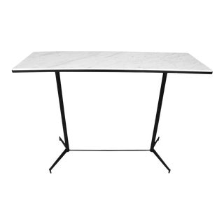 Mid-Century Modern Carrara Marble and Black Steel Console For Sale