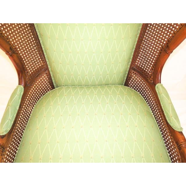 Ethan Allen English Traditional Green Upholstered Faux Bamboo Wingback Chair For Sale - Image 4 of 9