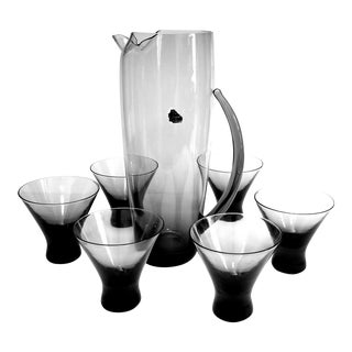 Mid-Century Morgantown Normandie Smoke Martini Pitcher and Glasses - Set of 7 For Sale