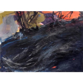 Sunset Under the Piers, Kittery, Maine / Abstract Seascape Painting on Paper For Sale