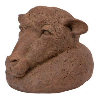 Hand Built Ceramic Bust of a Sheep For Sale