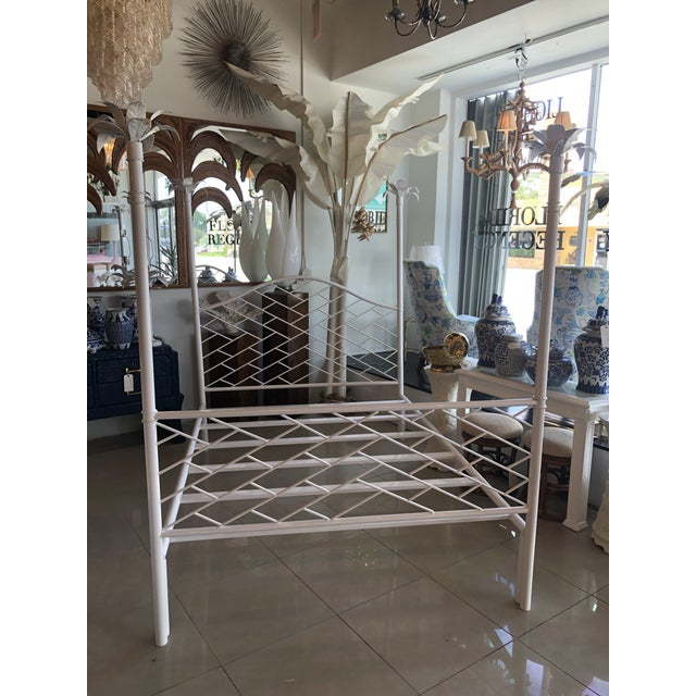 Vintage Chinese Chippendale Palm Tree Leaf Metal Four Poster Queen Full Size Bed For Sale - Image 12 of 12