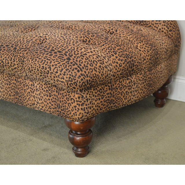 Leopard Print Upholstered Tufted Chaise Lounge Recamier For Sale - Image 10 of 12