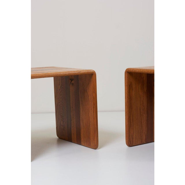 Mid-Century Modern Pair of Two James Rannefeld Wood Ribbon Stools, Us For Sale - Image 3 of 7