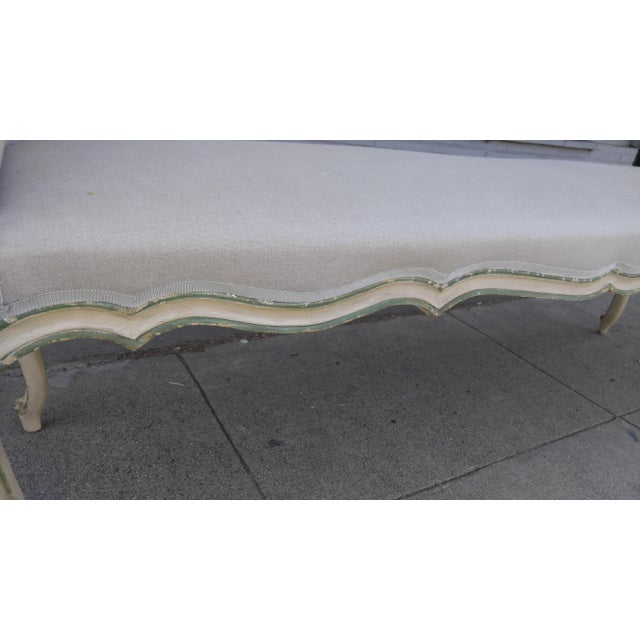 Greige French Bench With Arms in a Hand Painted Antiqued Finish For Sale - Image 8 of 10