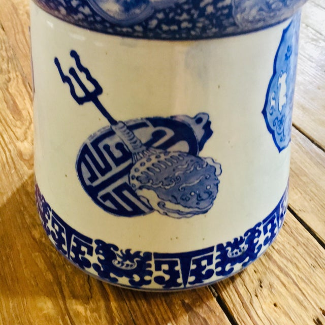 19th Century 19th Century Antique Glazed Terracotta Japanese Blue & White Stand For Sale - Image 5 of 11