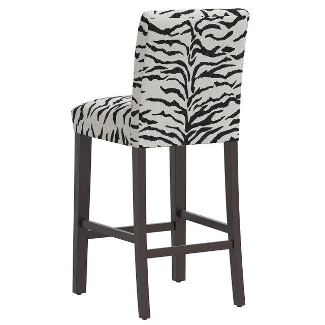 Bar stool in Linen Zebra Cream Black For Sale - Image 4 of 8