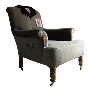 Antique Armchair the Country Tweed Armchair Bespoke Tailor Made Unique Victorian For Sale