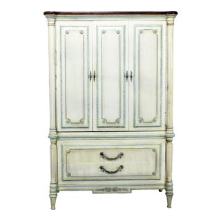 1960s Traditional Solid Wood Armoire For Sale