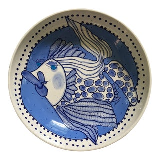 Large, Round Fish Serving Bowl in Delft Blue by Artist For Sale