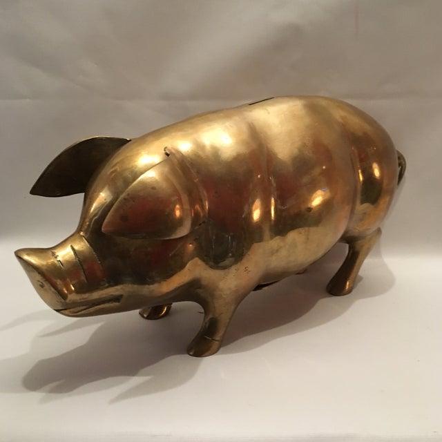 Vintage Brass Pig Bank - Image 2 of 7