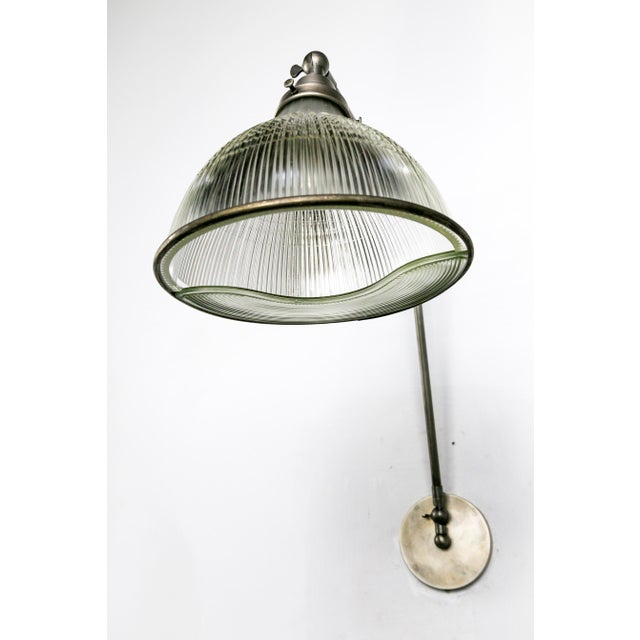 Reeded Holophane Shades as Armed Sconces For Sale - Image 12 of 12