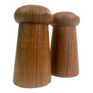 Mid Century Modern Teak Wood Mushroom Shaped Salt & Pepper Shakers For Sale