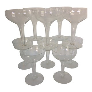 Set of 10 Vintage Mid-Century Modern Hollow Stem Champagne Coupes Glasses For Sale