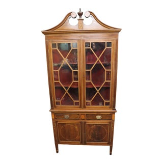 Hepplewhite Style Inlaid Mahogany Corner Cabinet For Sale
