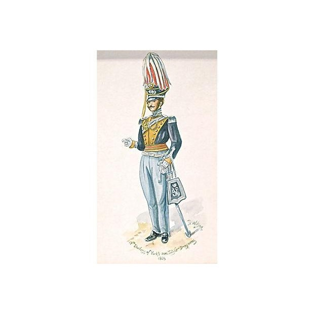 """This is an antique, 19th century, English, watercolor of a soldier in a 19th-century uniform. It is titled """"14th Duchess..."""