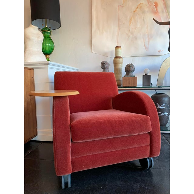 Mid-Century Modern Modern Mohair Chair & Swivel Side Table For Sale - Image 3 of 4