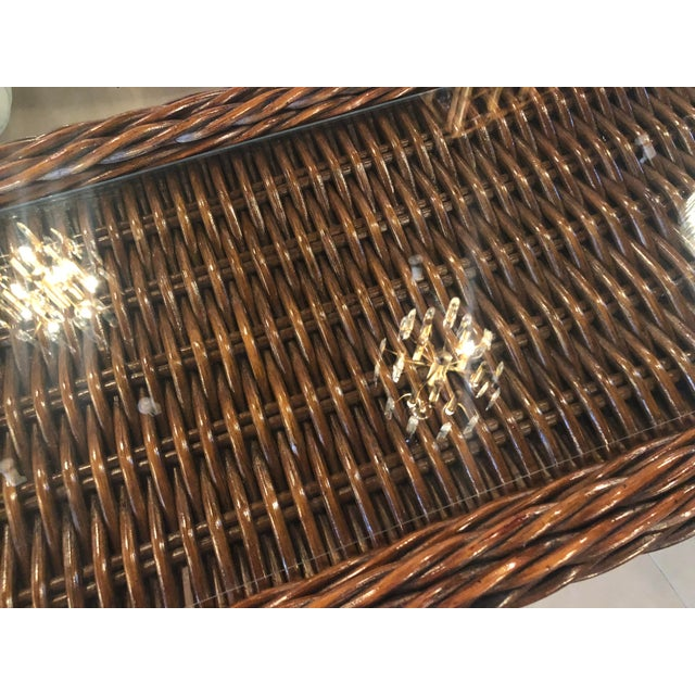 Vintage Double Pedestal Braided Wicker Console Table For Sale - Image 4 of 12