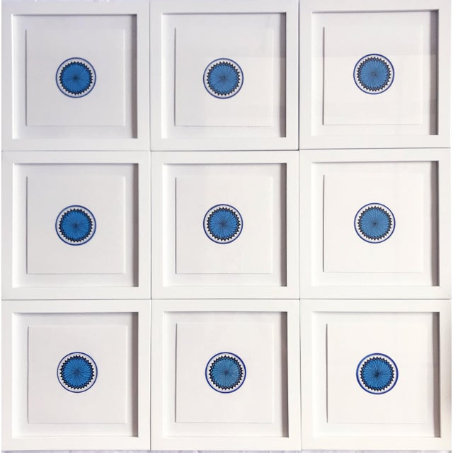 """Created in 2019 by Natasha Mistry, these nine separate drawings, in blue, join to form one piece. Each 8"""" drawing is..."""